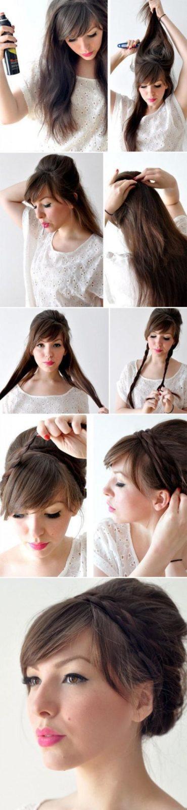 Причёска на длинные волосы с чёлкой в домашних условиях своими руками 52