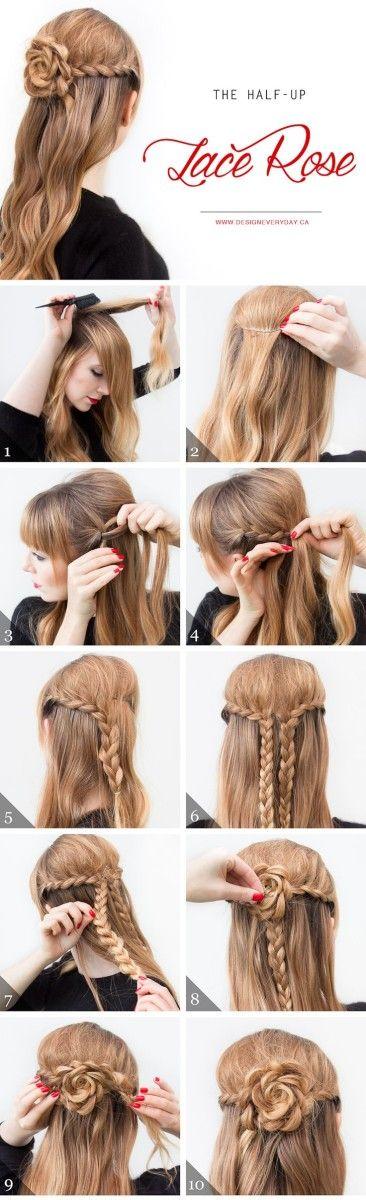 Прически на длинные волосы: роза из кос