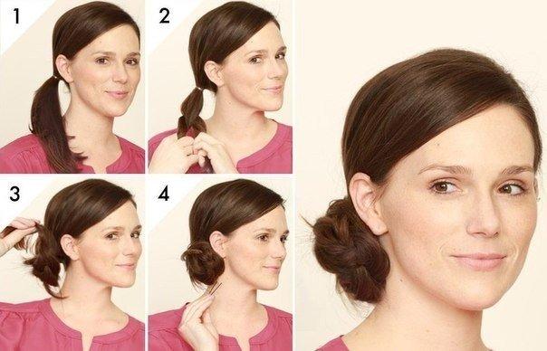 Прически на средние волосы в домашних условиях : собранная косичка