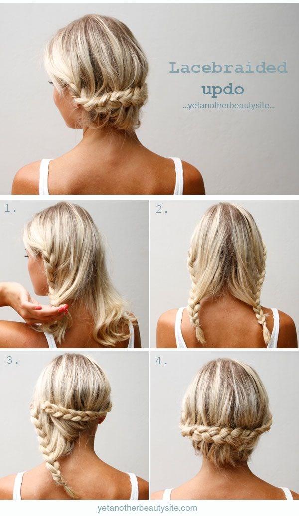 Прическа на средний волос из двух кос