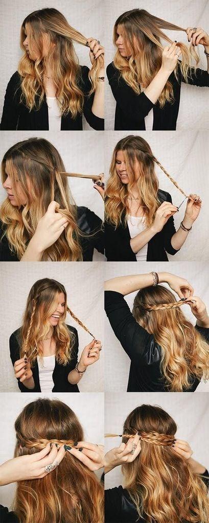Прическа на средние волосы: двойной ободок из кос