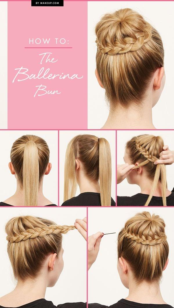 Высокая прическа на средние волосы: балерина