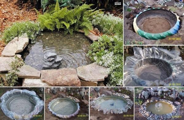 Поделки для сада своими руками: озеро из шин