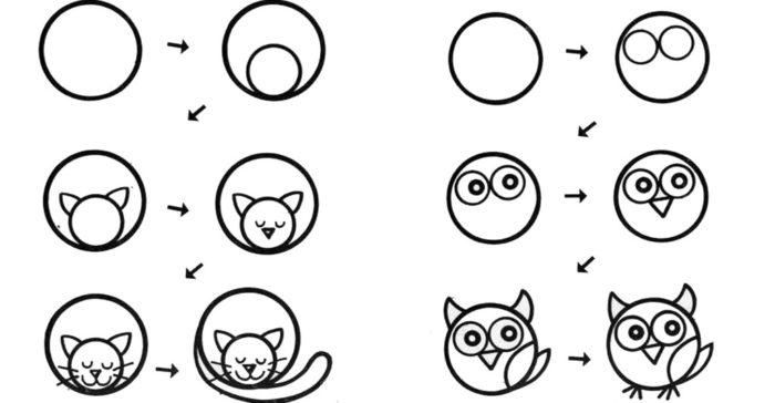 Как рисовать животных из круга?