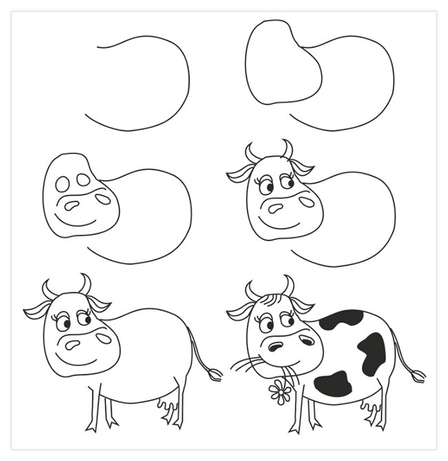Как нарисовать поэтапно корову карандашом