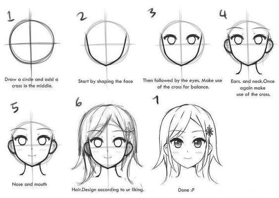 Как нарисовать поэтапно лицо аниме карандашом?