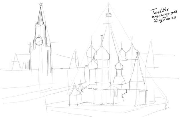Как рисовать кремль карандашом?
