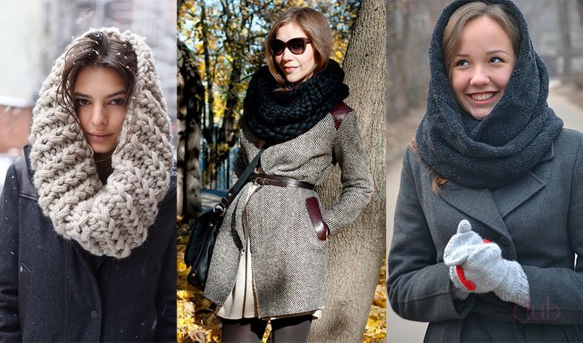 Как носить шарф-снуд зимой?