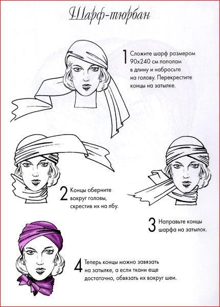 Как красиво завязать платок на голове: тюрбан
