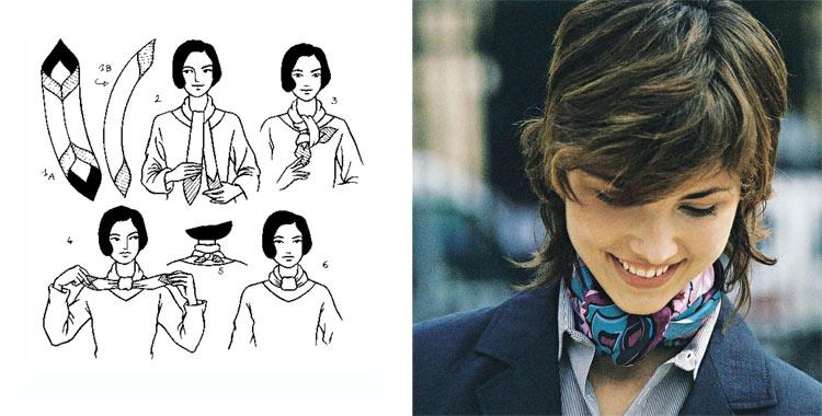 Как красиво завязать платок на шее: 1 способ