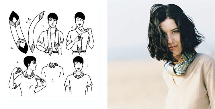 Как красиво завязать платок на шее: 2 способ