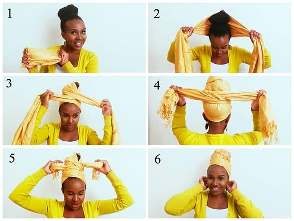Как красиво завязать платок на голове: оригинальный пучок
