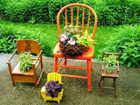 Дизайн сада и огорода своими руками: цветочные стулья