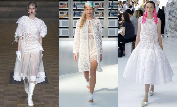 Мода весна лето 2017 тенденции: белое прозрачное платье
