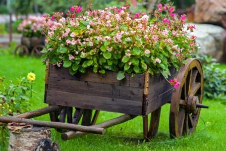 Дизайн сада и огорода своими руками: цветник на повозке