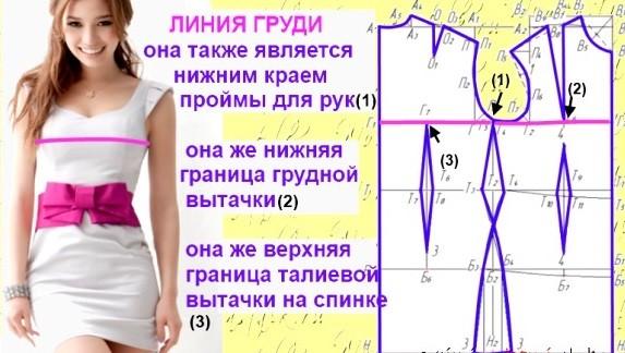 Построение выкройки платьев для начинающих: линия груди
