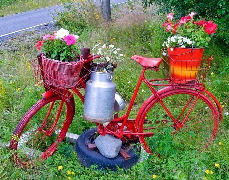 Дизайн сада и огорода своими руками: декор из велосипеда