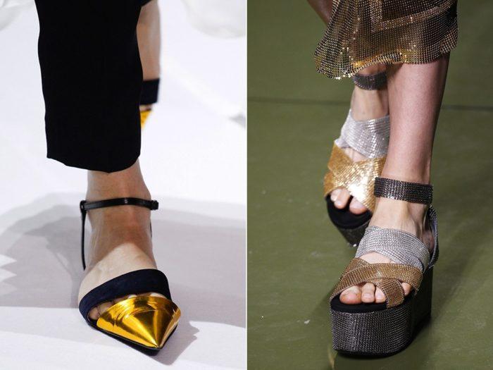 Модная обувь весна-лето 2017: металлик