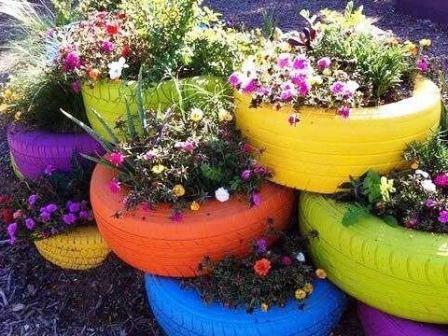 Дизайн сада и огорода своими руками: цветник из шин