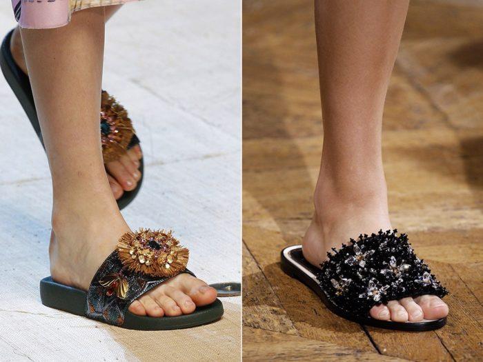 Модная обувь весна-лето 2017: шлепанцы с бисером