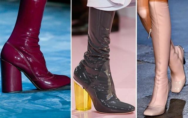 Модная обувь весна-лето 2017: латексные сапожки