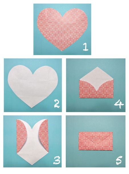 Как сделать конверт из бумаги а4: из сердечка