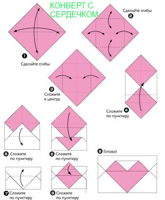 Конверт оригами: простой способ