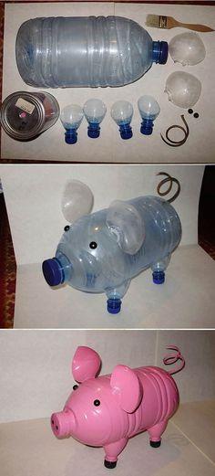 Что можно сделать своими руками: свинка из бутылок
