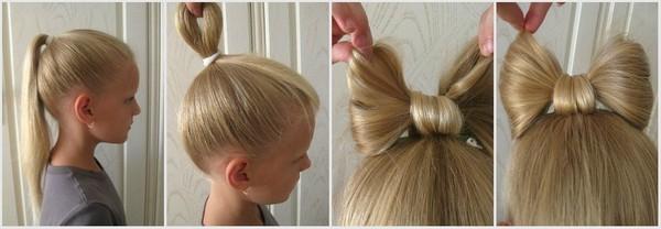 Прически на длинные волосы для девочек: бант из волос