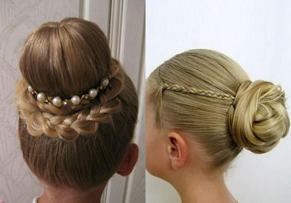 Прически на длинные волосы для девочек: вечерний пучок