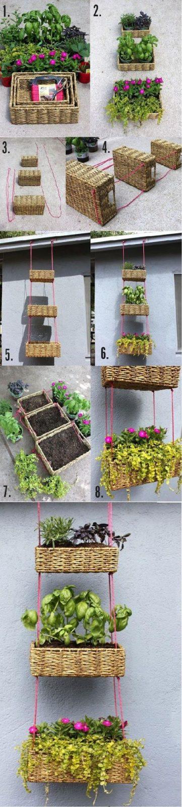 Самоделки для дачи и огорода своими руками: Подвесные клумбы