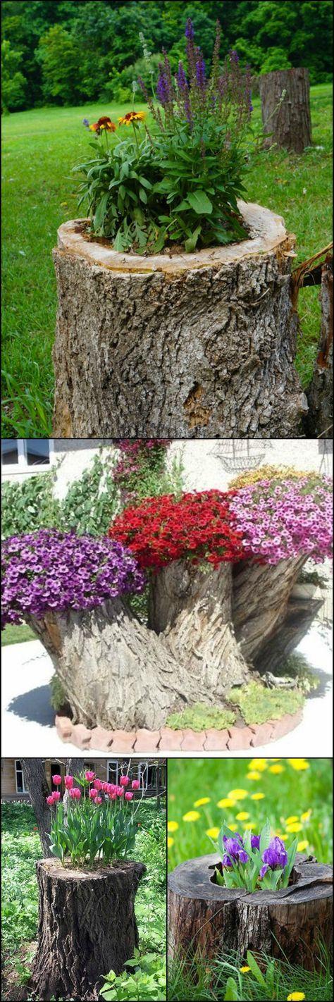 Поделки для сада своими руками: пни с цветами