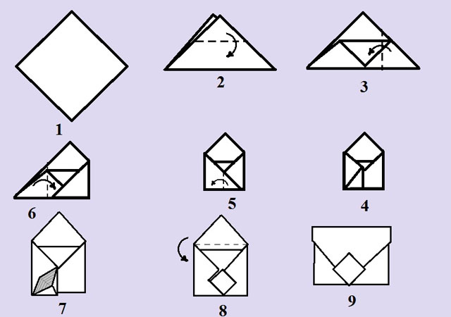 Как сделать конверт из бумаги а4: с квадратом