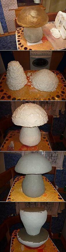 Дачные поделки своими руками для украшения сада: грибочек