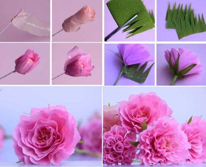 Как сделать из крепированной бумаги розу поэтапно