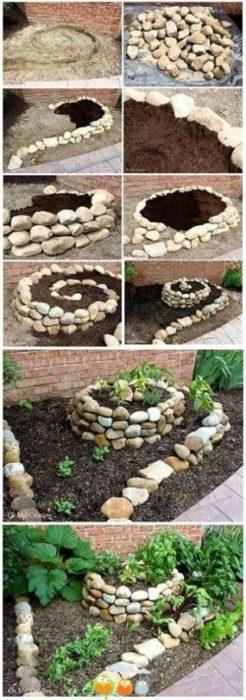 Поделки для сада своими руками: клумба из камней