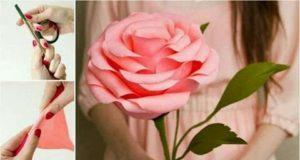 Большие розы из бумаги