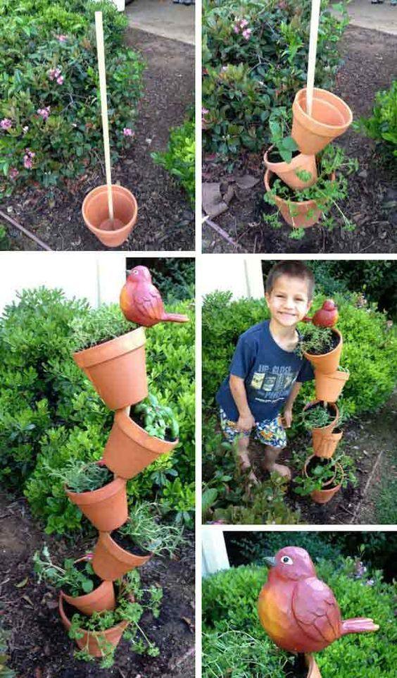 Дачные поделки своими руками для украшения сада: дерево из вазонов
