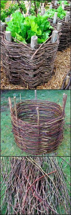 Дачные поделки своими руками для украшения сада: корзина из веток