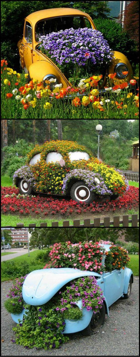 Поделки для сада своими руками: цветущая машина