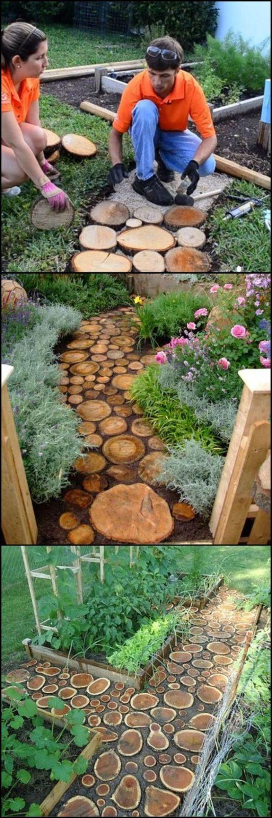 Дачные поделки своими руками для украшения сада: дорожка из дерева