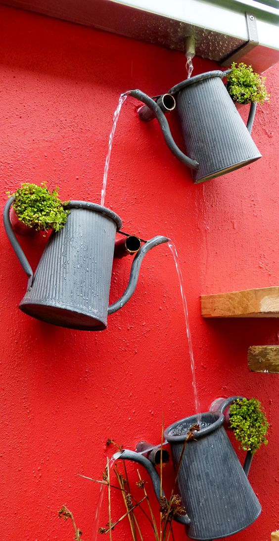 Поделки для сада своими руками: фонтан из кувшинов