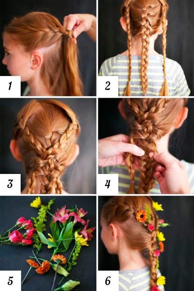 Прически на длинные волосы для девочек: 3 косички