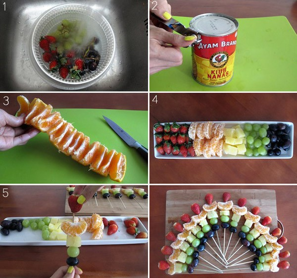 Канапе на шпажках на праздничный стол: фруктовая радуга