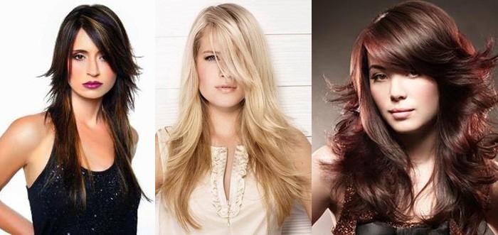 Модные женские стрижки для длинных волос 2017: косая челка