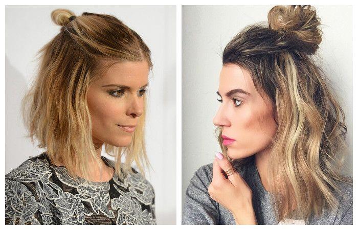 Модные прически 2017 на средние волосы: полупучок