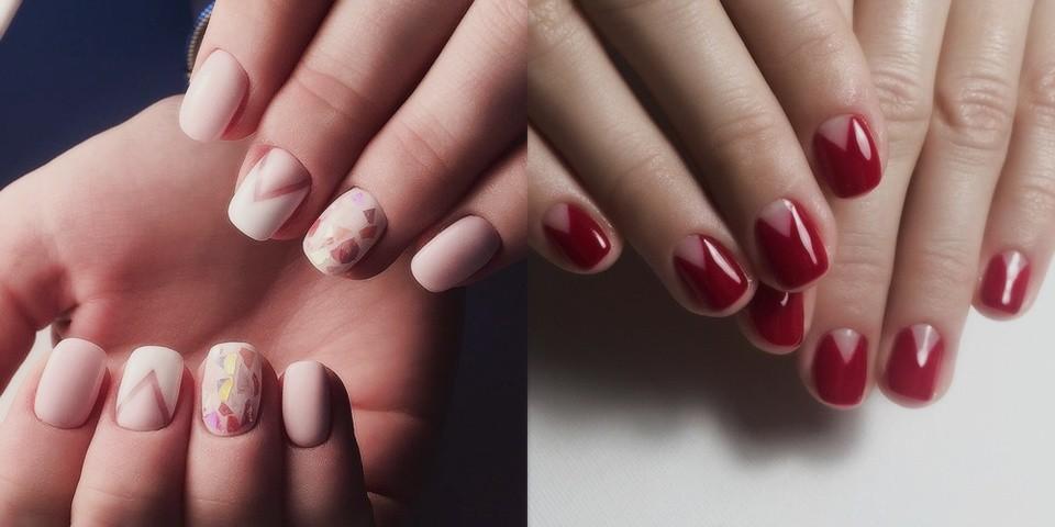 Маникюр на короткие ногти дизайн 2017: лунный