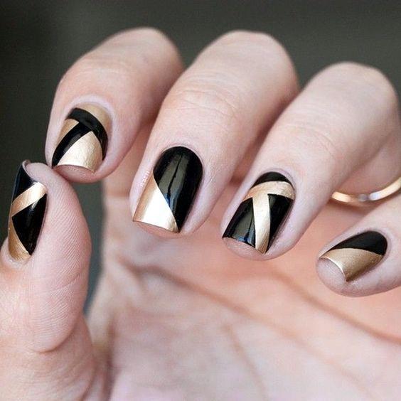 Маникюр на короткие ногти дизайн 2017: золото