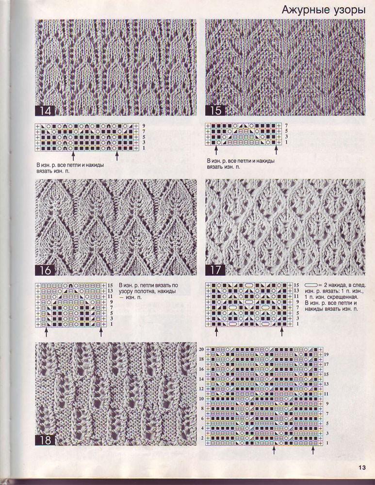 Вязание спицами схема ажурного узора 77