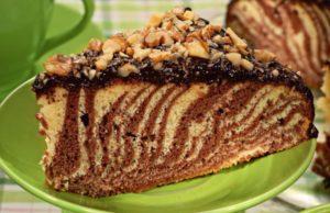 Торт зебра с орехами и глазурью
